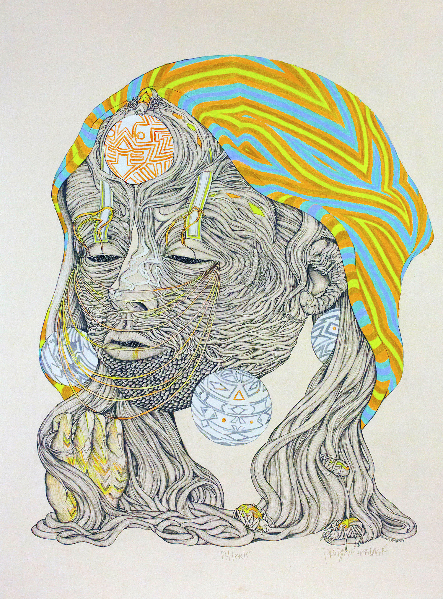 Prophetic Headache 22%22 x 30%22 pen and pencil crayon on paper.jpg