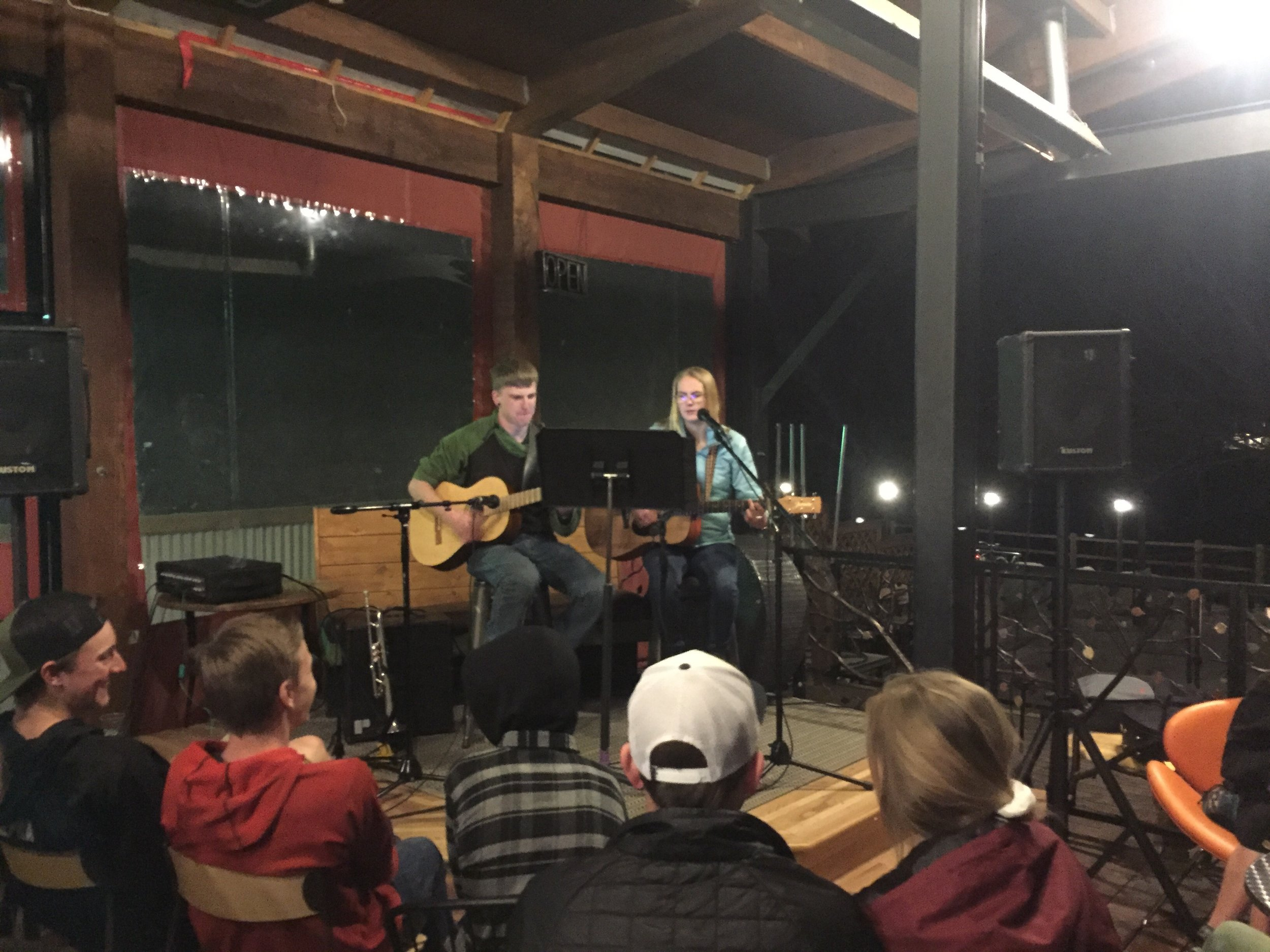 Jacob and Vasey perform in front of a large crowd at the first PfCA Teen Night at Seasons Cafe on February 1st. Photo by Andre Wilkins.