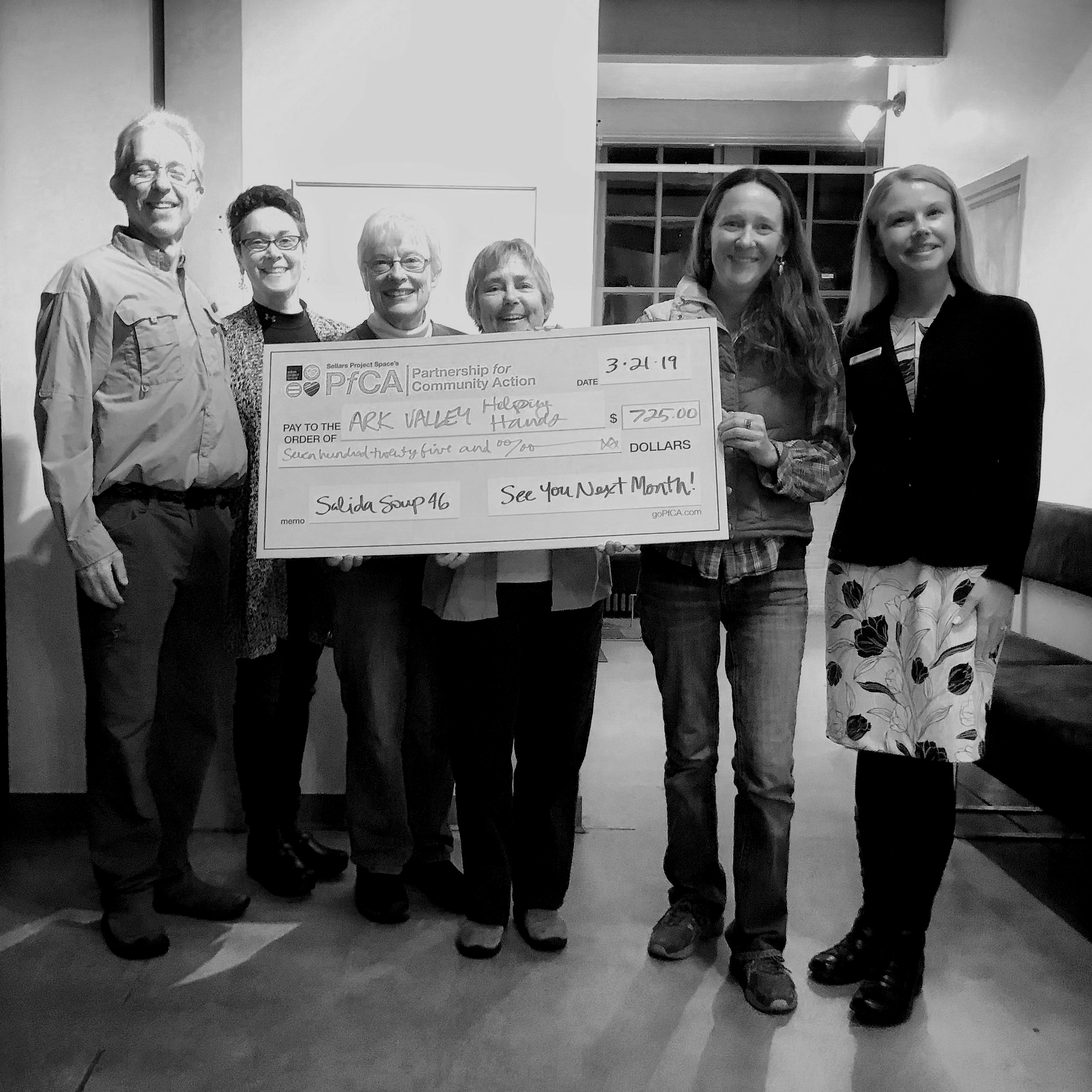 AVHH Members pose with the Big Check after winning Salida Soup 46. From left: Dr. Tom Syzek, Leslie Matthews, Marilyn Bouldin, Dee Dubin, Sara Ward, and Andrea Carlstrom.