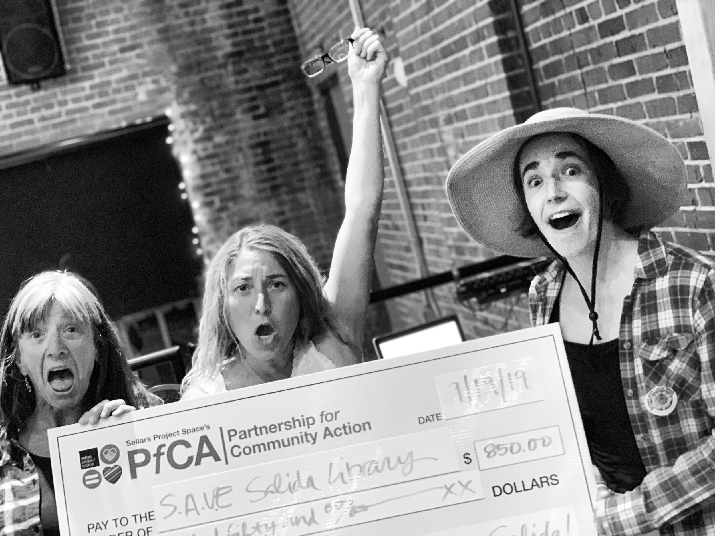 They're not excited to win Salida Soup 50, no way! Congrats to the S.A.V.E Salida Seed Library team - Wendy, Leisa, and Hannah (l-r).
