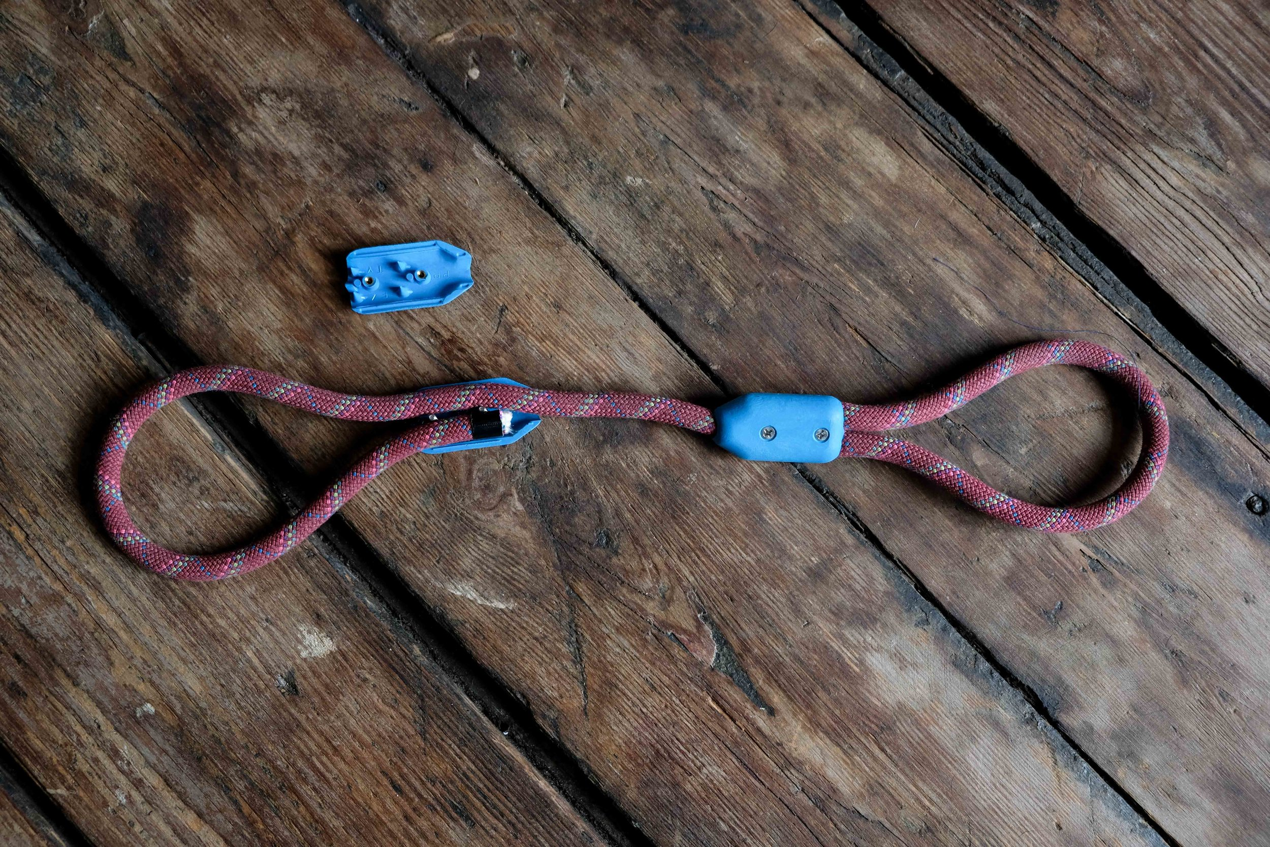 Repeat to create another loop for the tug toy. For a leash, measure out the desired length of the rope. Then feed a swivel bolt snap into a small loop, and secure with another rope clamp. We found a variety of bolt snaps  here . Make sure the bolt snap's end is large enough to fit the diameter of your rope.