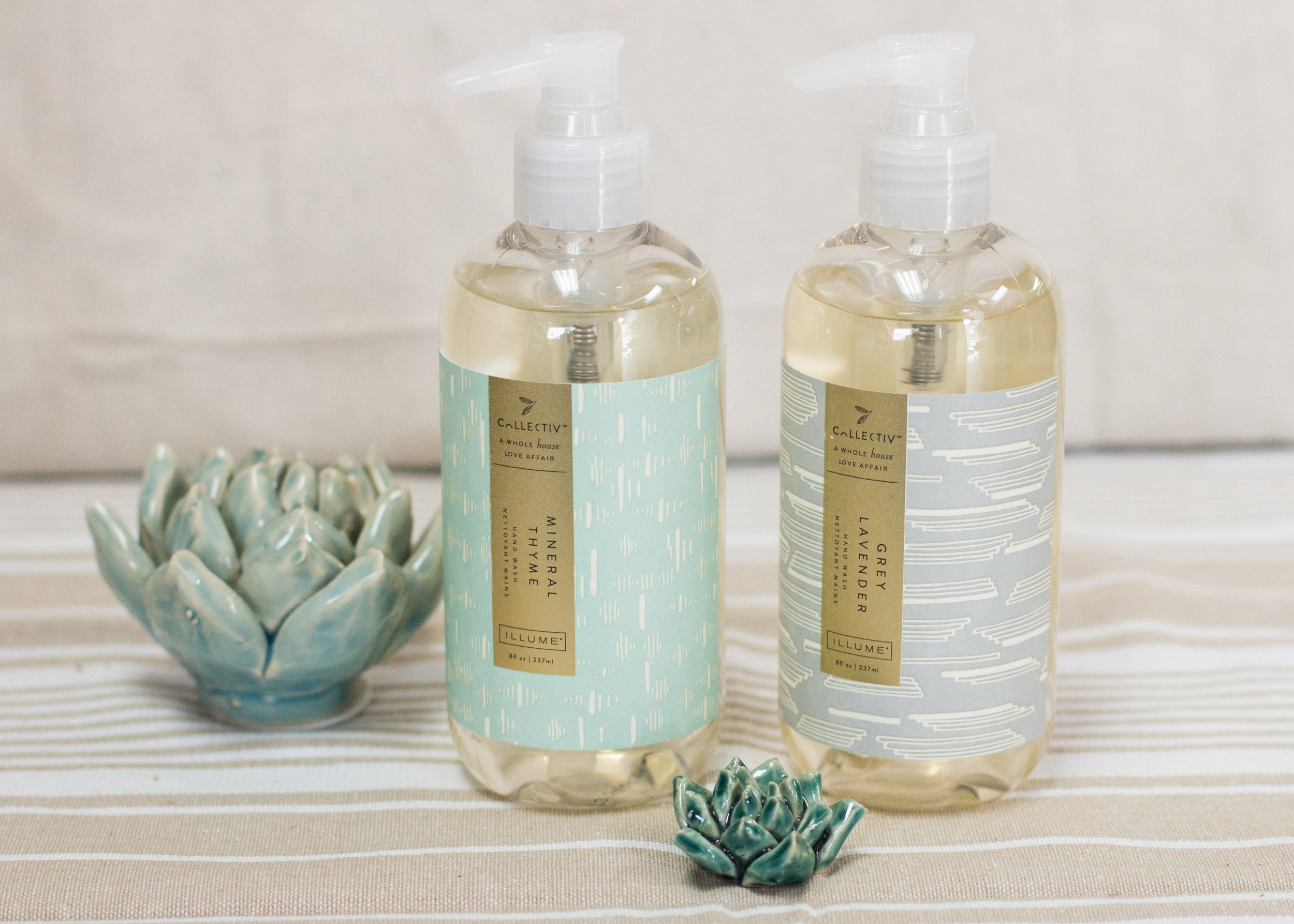 Sometimes the smallest changes can make life infinitely better - these hand soaps are just that! From our popular illume line, these mineral thyme and grey lavender pump soaps smell dreamy. we also have a complimenting counter spray to make a complete set!