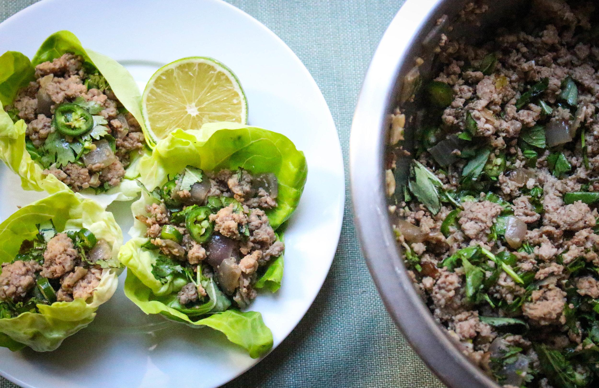 Paleo Thai Larb Lettuce Cups