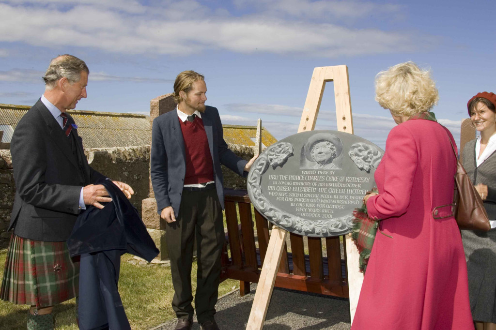 The unveiling of a memorial plaque of HM The Queen Mother, hand carved by Adam Williamson commissioned by HRH Prince Of Wales & Duchess Of Cornwall.