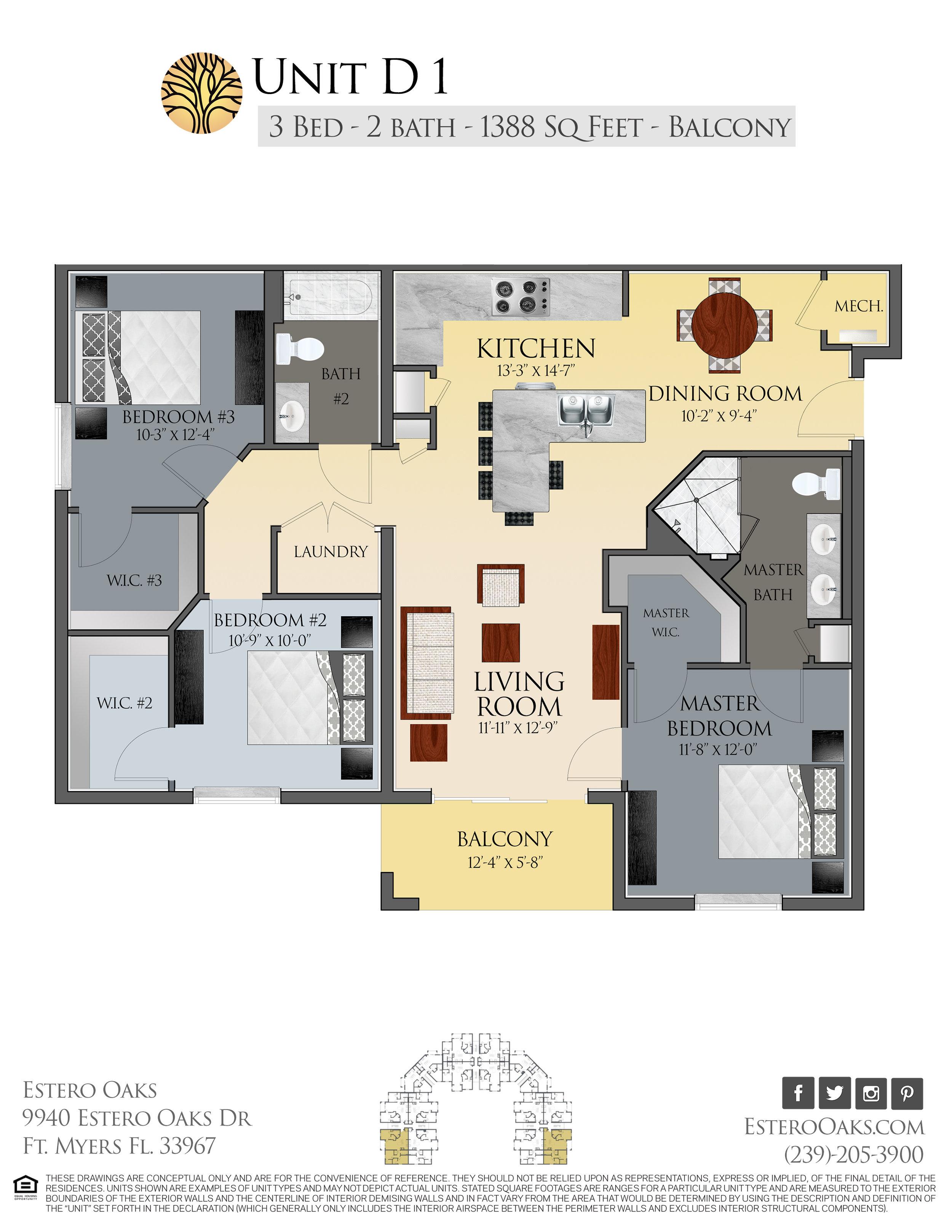 D1  Three Bedroom +Balcony