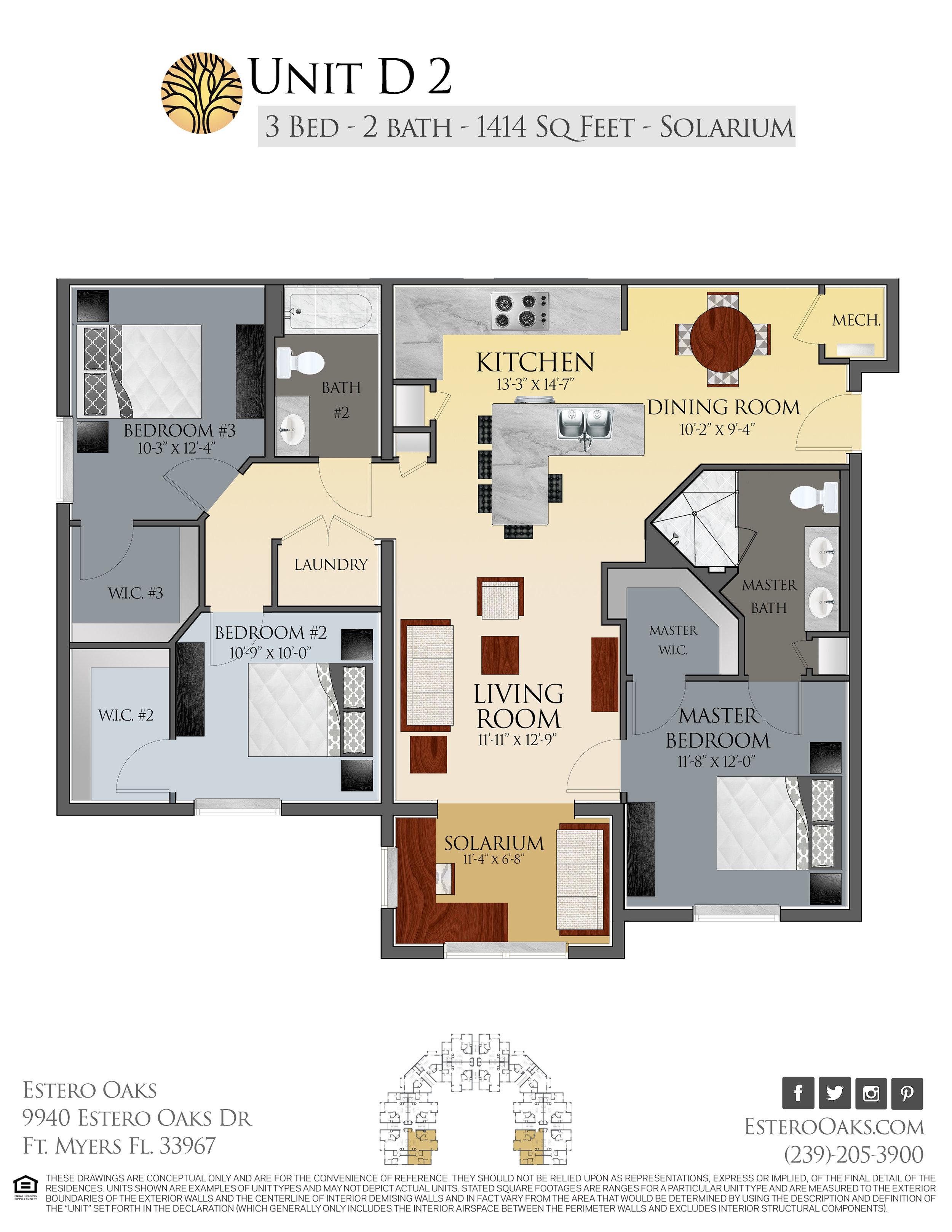 D2  Three Bedroom +Solarium