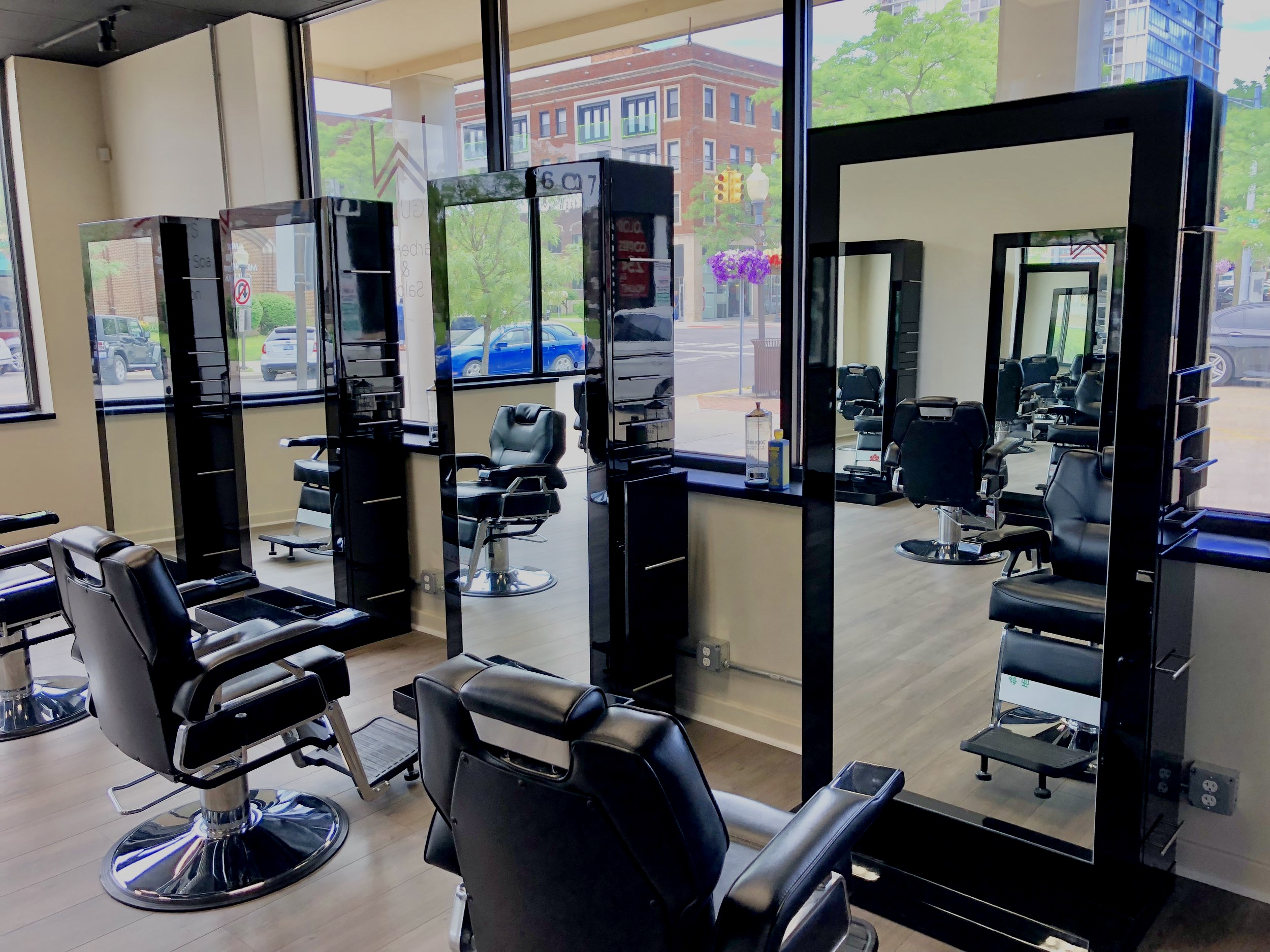 Great View Overlooking The Downtown Spacious And Unique Haircutting Floor Surrounding By Tall Window's, Our Stylist and Client's Enjoy A Great View Over Looking Do  -