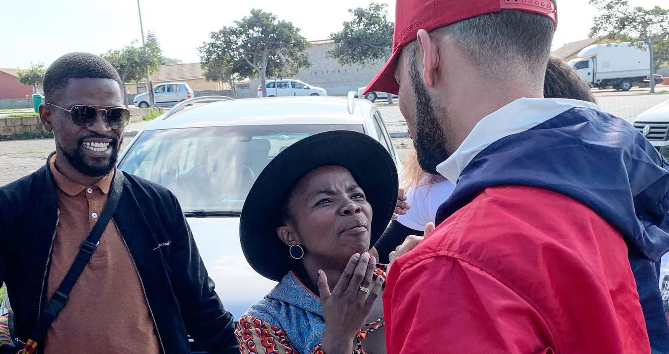 Thulani Headman watches as South African musical legend Zolani Mahola meets    Cape Town hip hop sensation Riyadh 'YoungstaCPT' Roberts    for the first time.