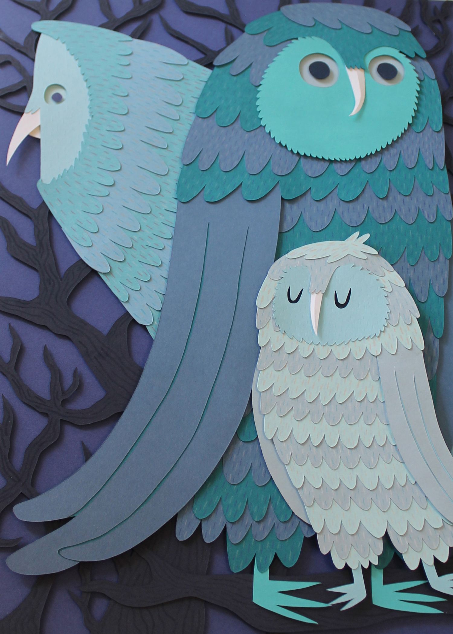 Owl Family  by Jared Andrew Schorr from  Paperworks  2013