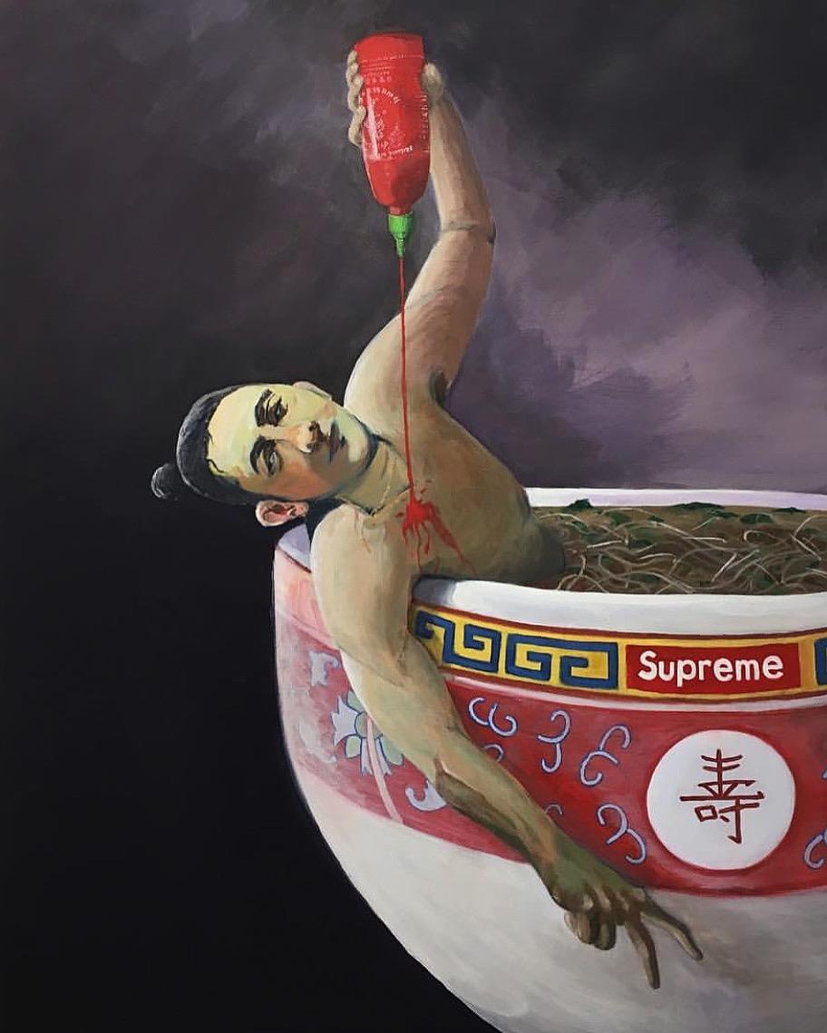"""Death Of Marat    by Timothy Bakthy, $900  48"""" x 36"""" x 1.5"""""""