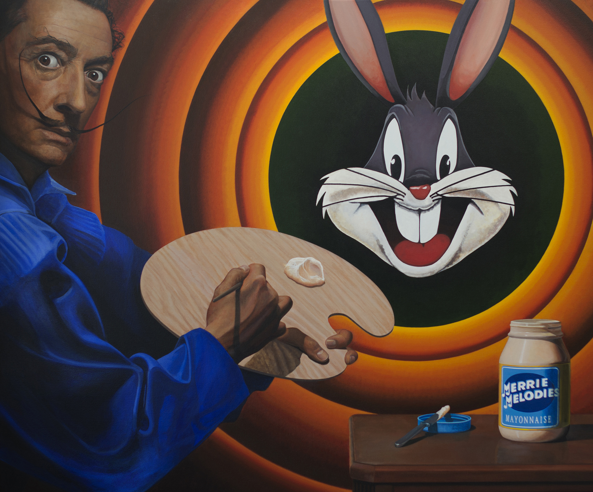 """Dali's Portrait Of Bugs Bunny In Mayonnaise    by A.S. Ashley, $15,500  60"""" x 72"""" x 3.5"""""""