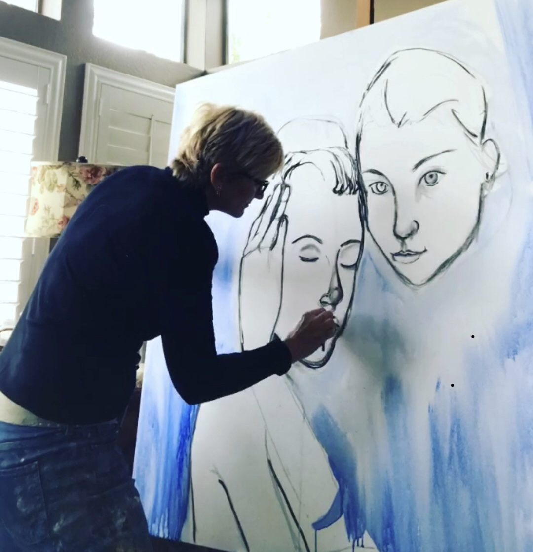 Jennifer Anderson works on another painting and is planning on creating something completely new for her residency in Fresh{AIR}.