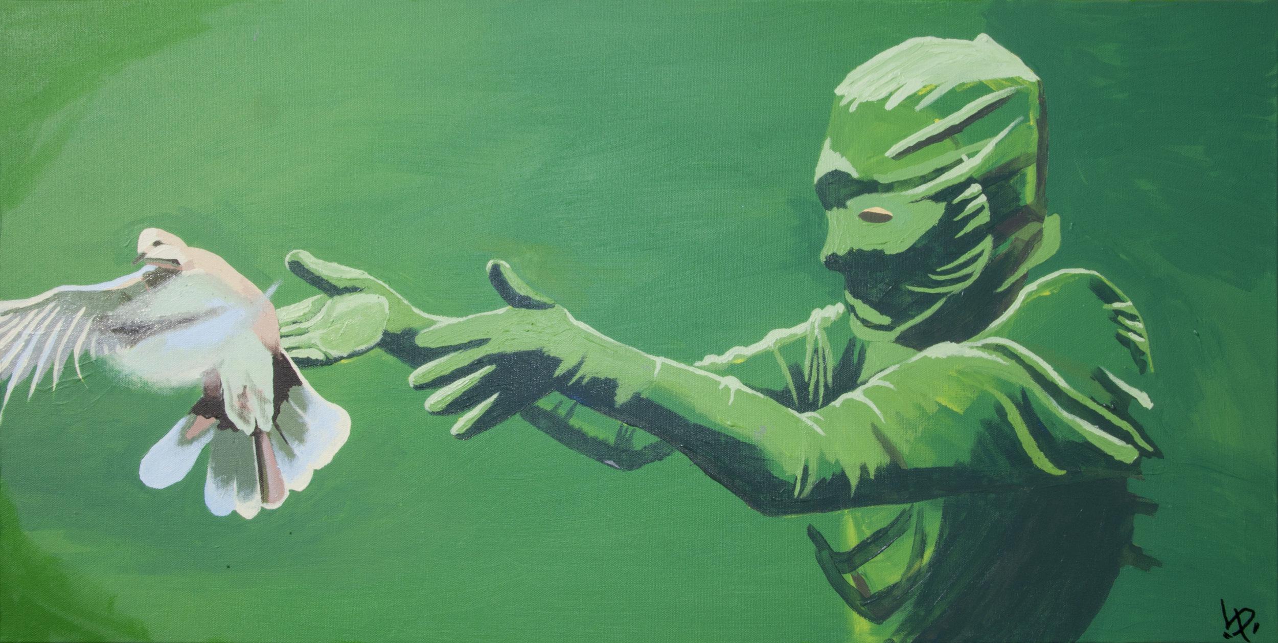 Green Screen Bird Releaser    by Lauren Porter, $1,000  3' x 1.5'