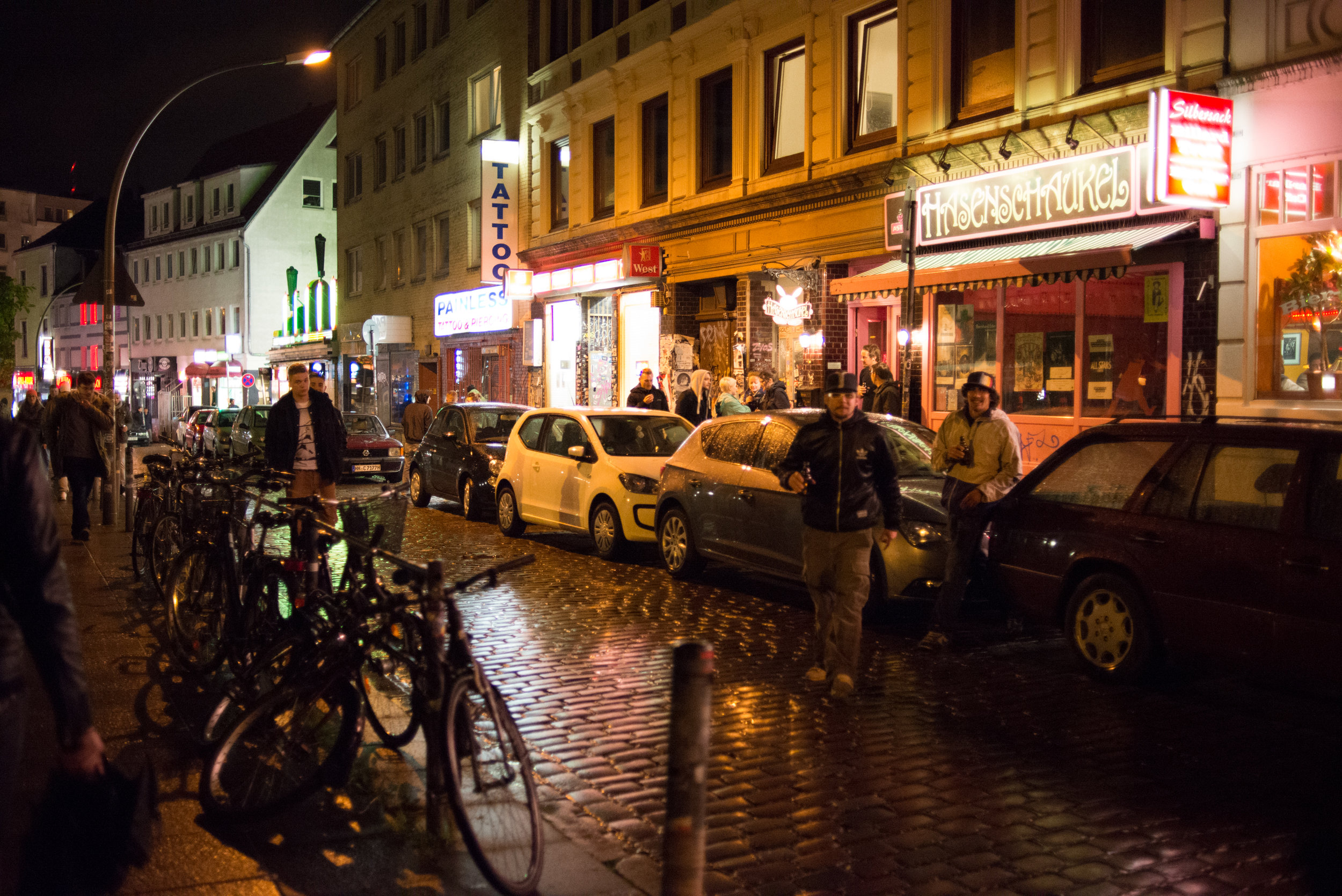 The streets in the St. Pauli district at night.