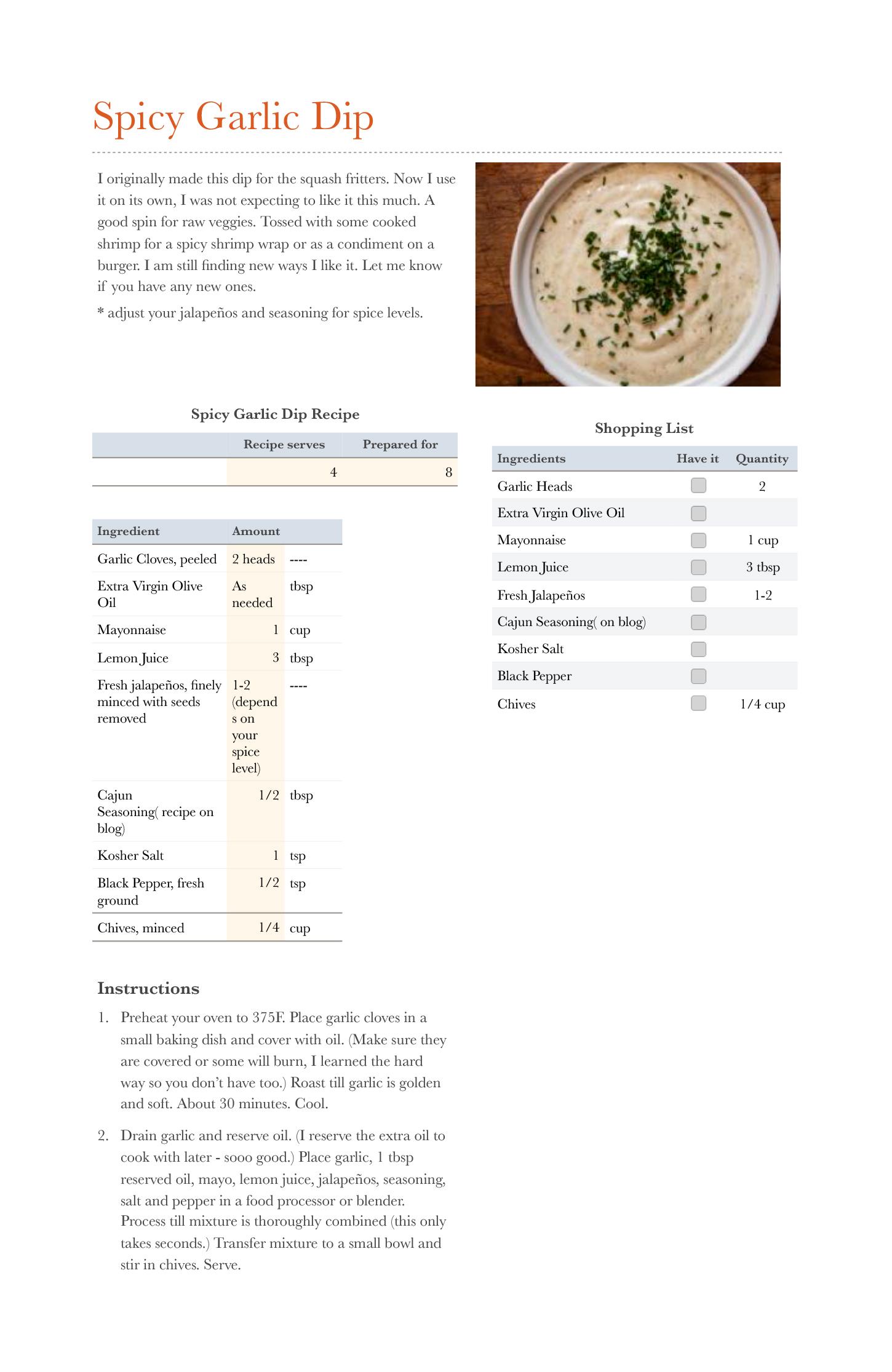 Spicy Garlic Dip.numbers
