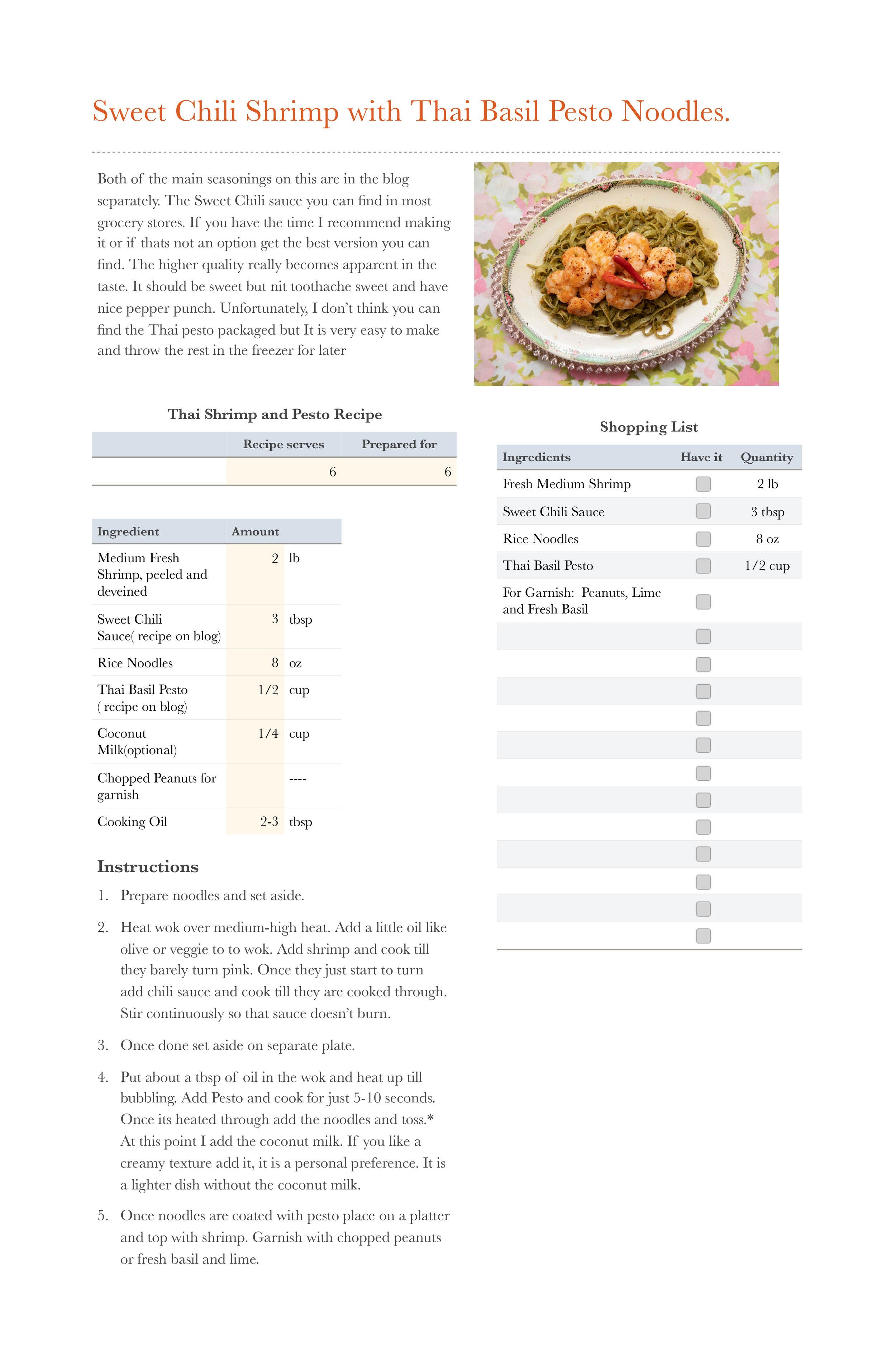Sweet Chili Shrimp amd Pesto