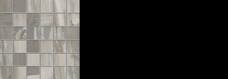petrified wood 2x 2 mosaic on 12x12 gray natural