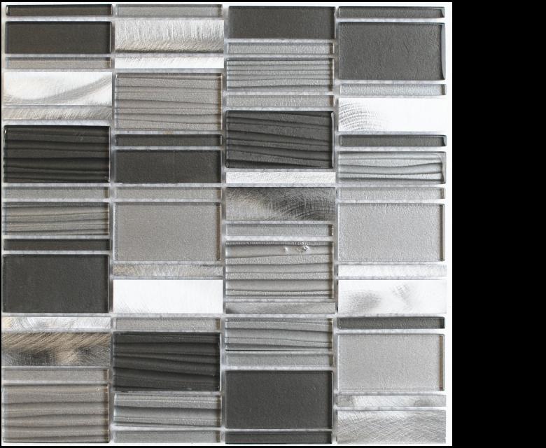 "Glamour, glass mosaics, RAVEN - 12"" x 12"" - Stack - Links"