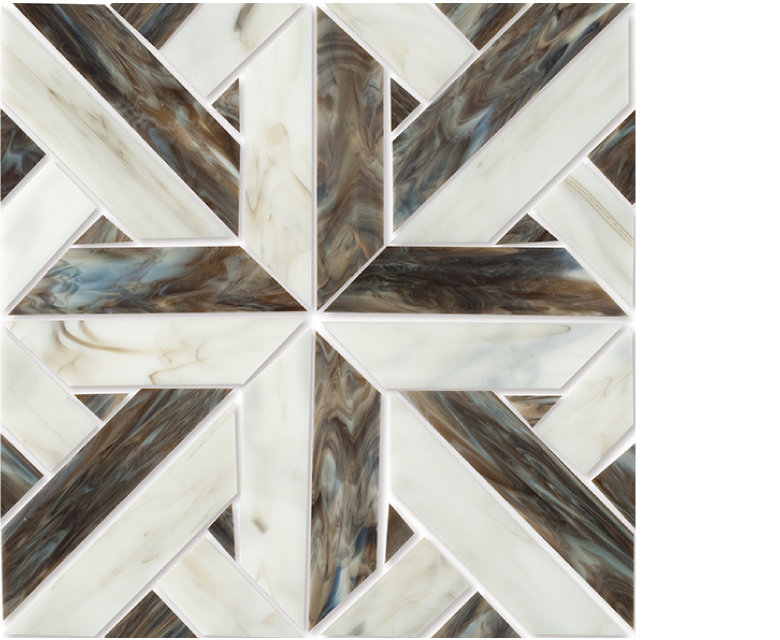 "MMP 100B  glass mosaic - 12"" x 12"" sheet white and brown"