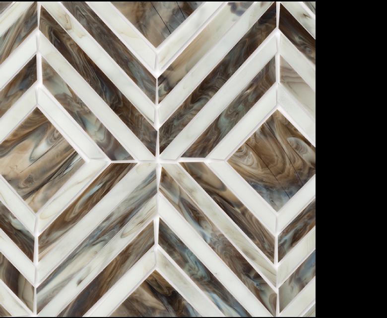 "MMP 101B  glass mosaic - 16"" x 12"" sheet white and brown"