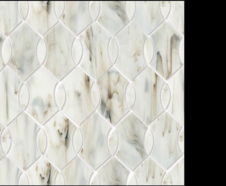 "MMP 102A  glass mosaic - 16"" x 12"" sheet white"