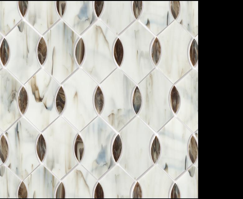 "MMP 102B  glass mosaic - 16"" x 12"" sheet white and brown"