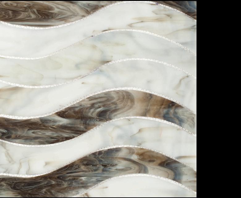"MMP 103B  glass mosaic - 16"" x 12"" sheet white and brown"