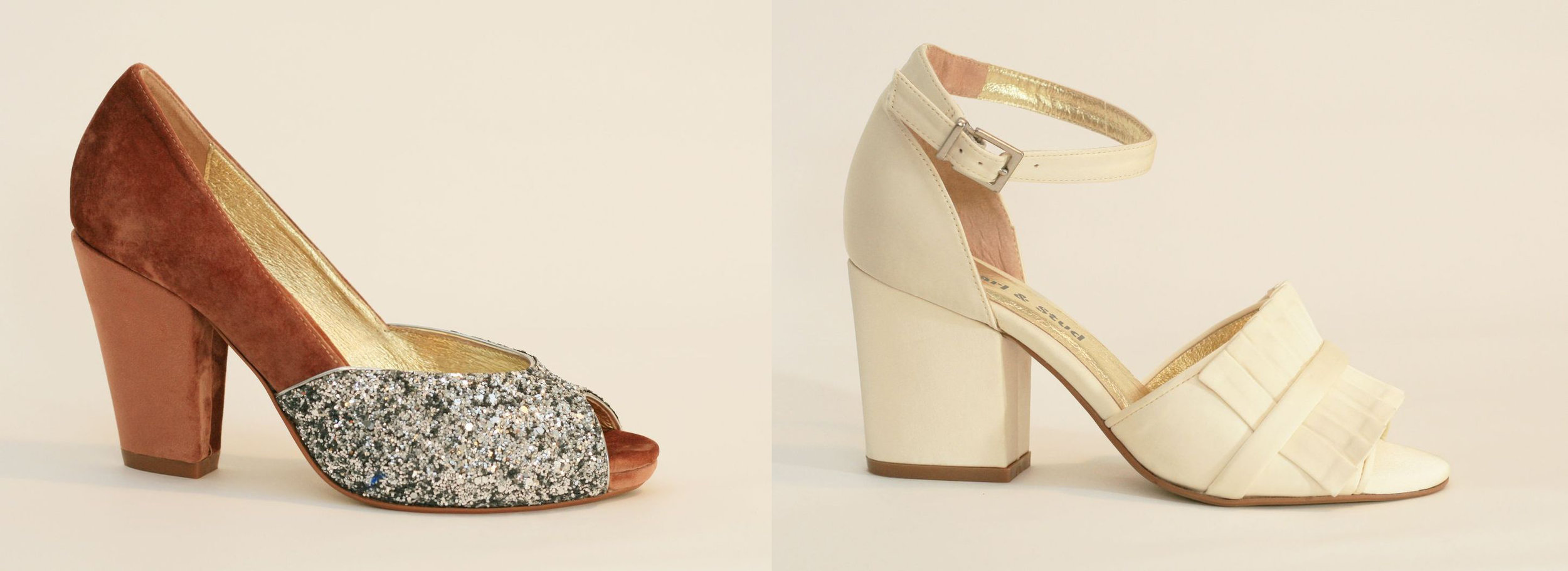 Pearl and Stud - Soto soft blush and Chelsea ivory satin