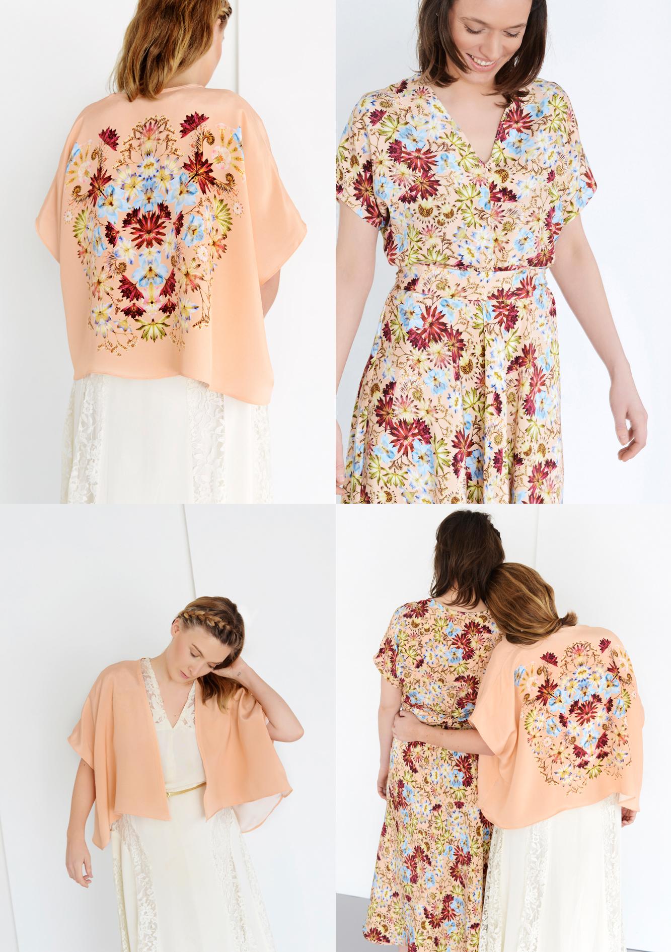 Francis  + Louise - Kingscote Peach - Bridesmaid dress and brides Kimono