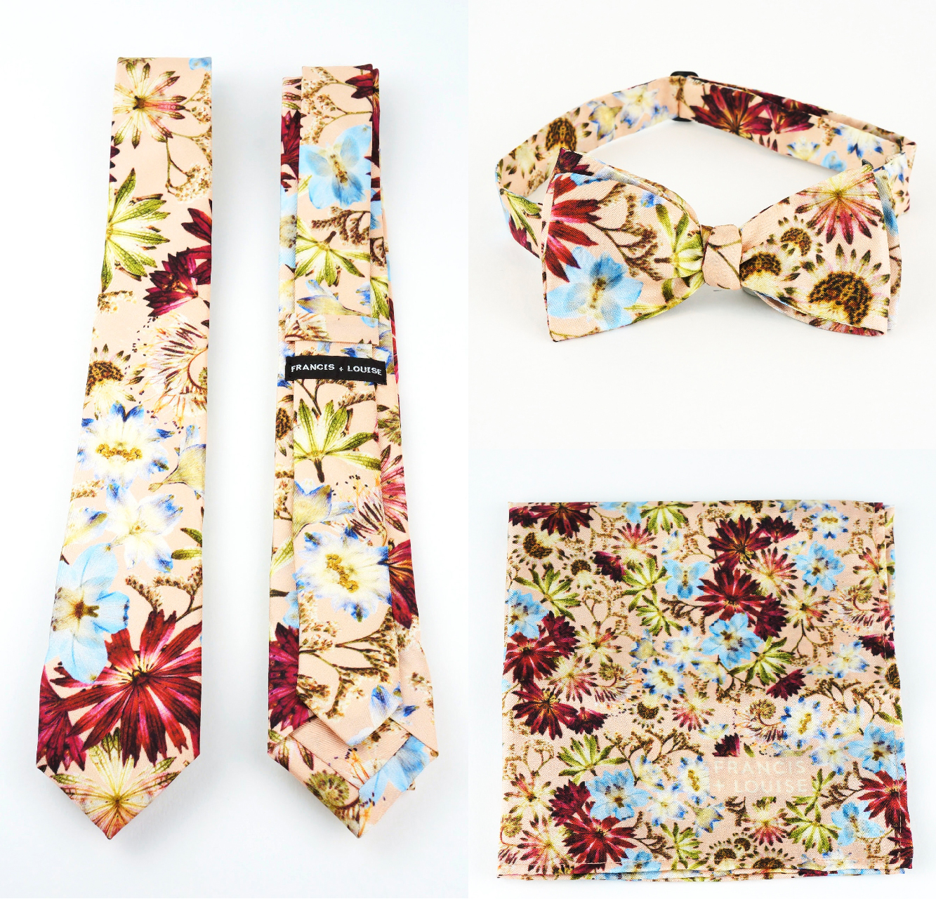 Francis + Louise - Kingscote peach - Ties, Bow ties and matching Pocket squares.