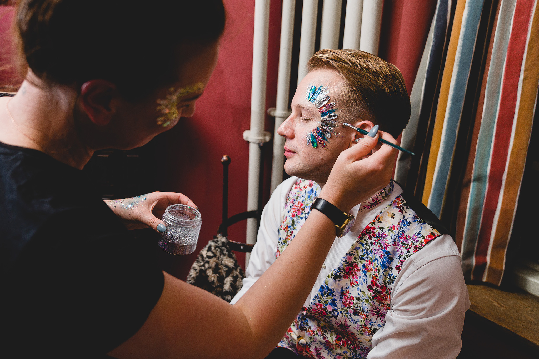 Natasha + Simon Wedding - UK - Bespoke hand painted print  photographer - James Rouse - The glitter bar - Love Moi Makeup