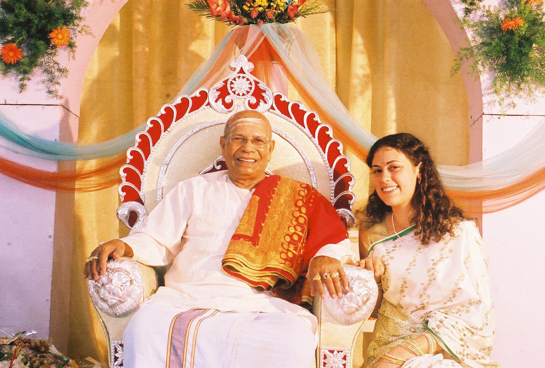 Guruji's 90th birthday (photo by Joan Schaffer, Mysore 2005).