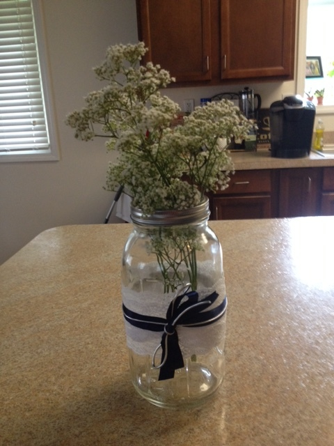 Navy and gray...loved those centerpieces.