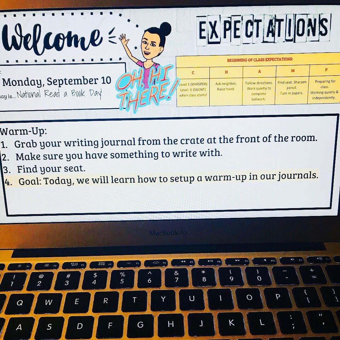 Monday - Students are still establishing routines. I review expectations and have students get into the habit of grabbing materials before class.
