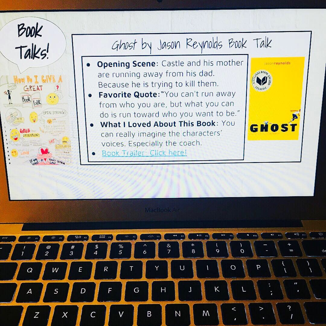 Book Talk - On Mondays, I show students where I got the mentor sentence. I got this week's sentence from Ghost by Jason Reynolds. I had 35 copies of Ghost, and by the end of the day I had only 2 left.This day also included HOW we notice writing as an anchor chart that will stay up in my class. My goal is to have this anchor chart break down noticings by the six-traits of writing.