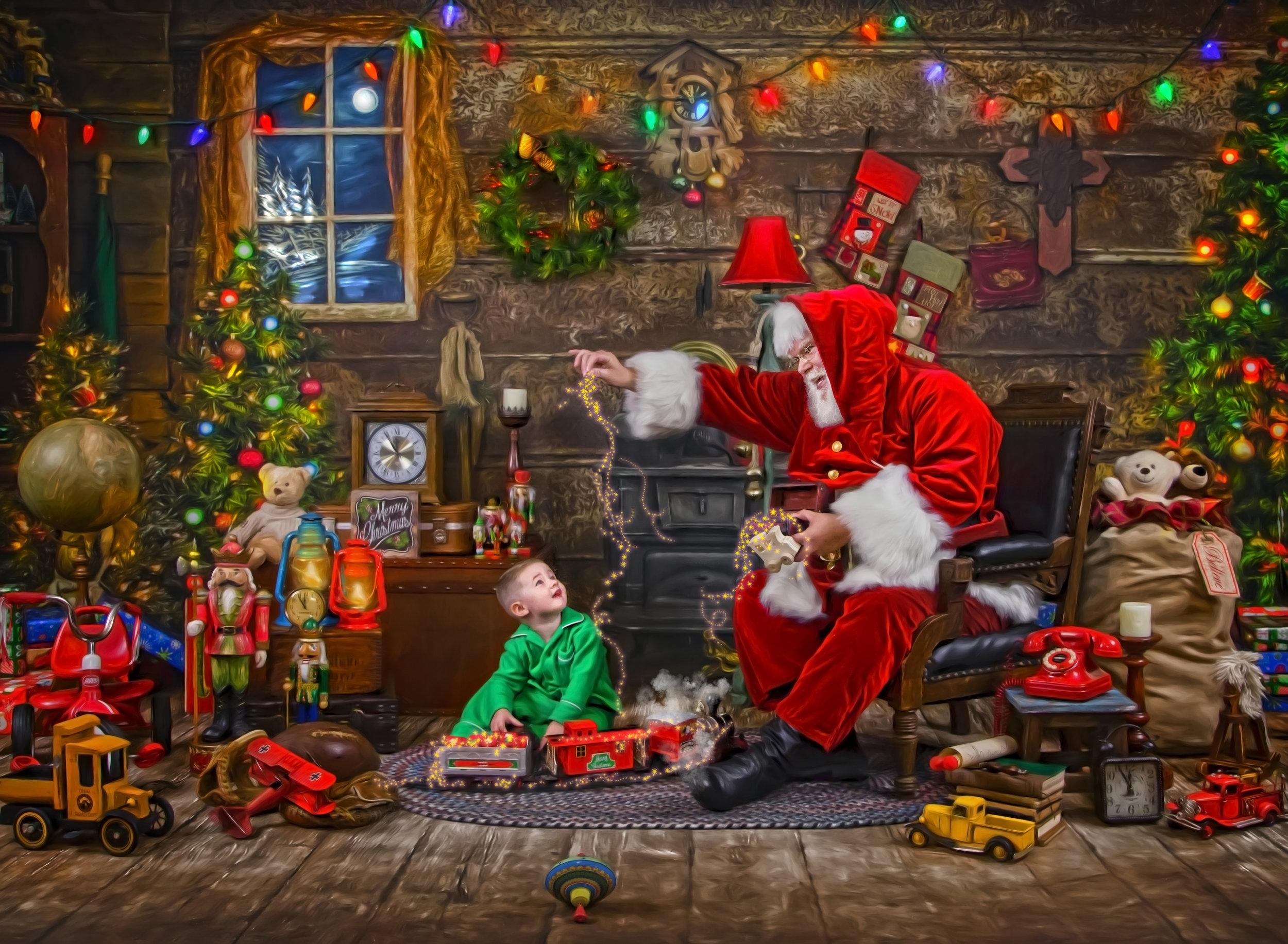 Santa's Storybook Workshop Blue Rock Ohio Santa checking his toy list