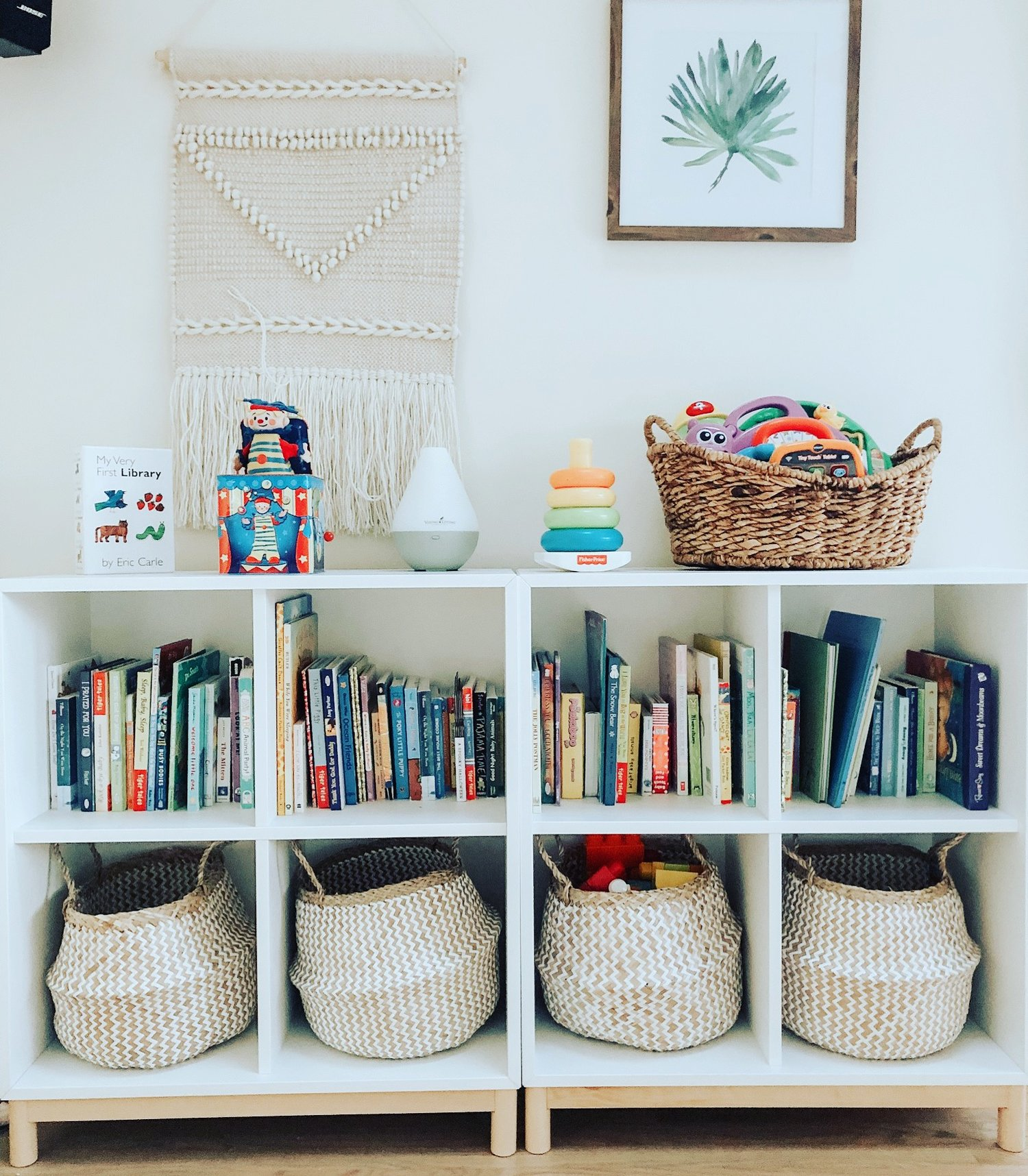 Shelving Unit | Baskets | Similar Baskets | Similar Art | Similar Art | Similar Tapestry and here | Similar Diffuser