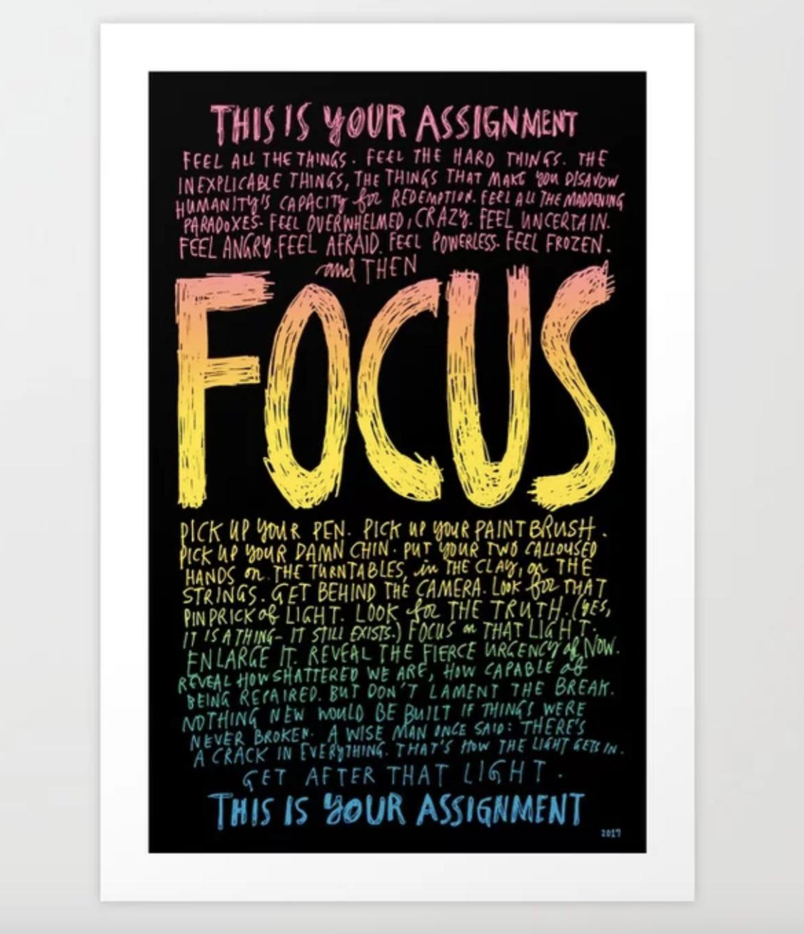 Focus - Writing Artwork for Office