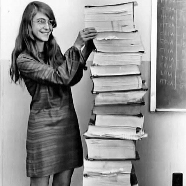 Margaret Hamilton with her code (Credit: MIT Museum)