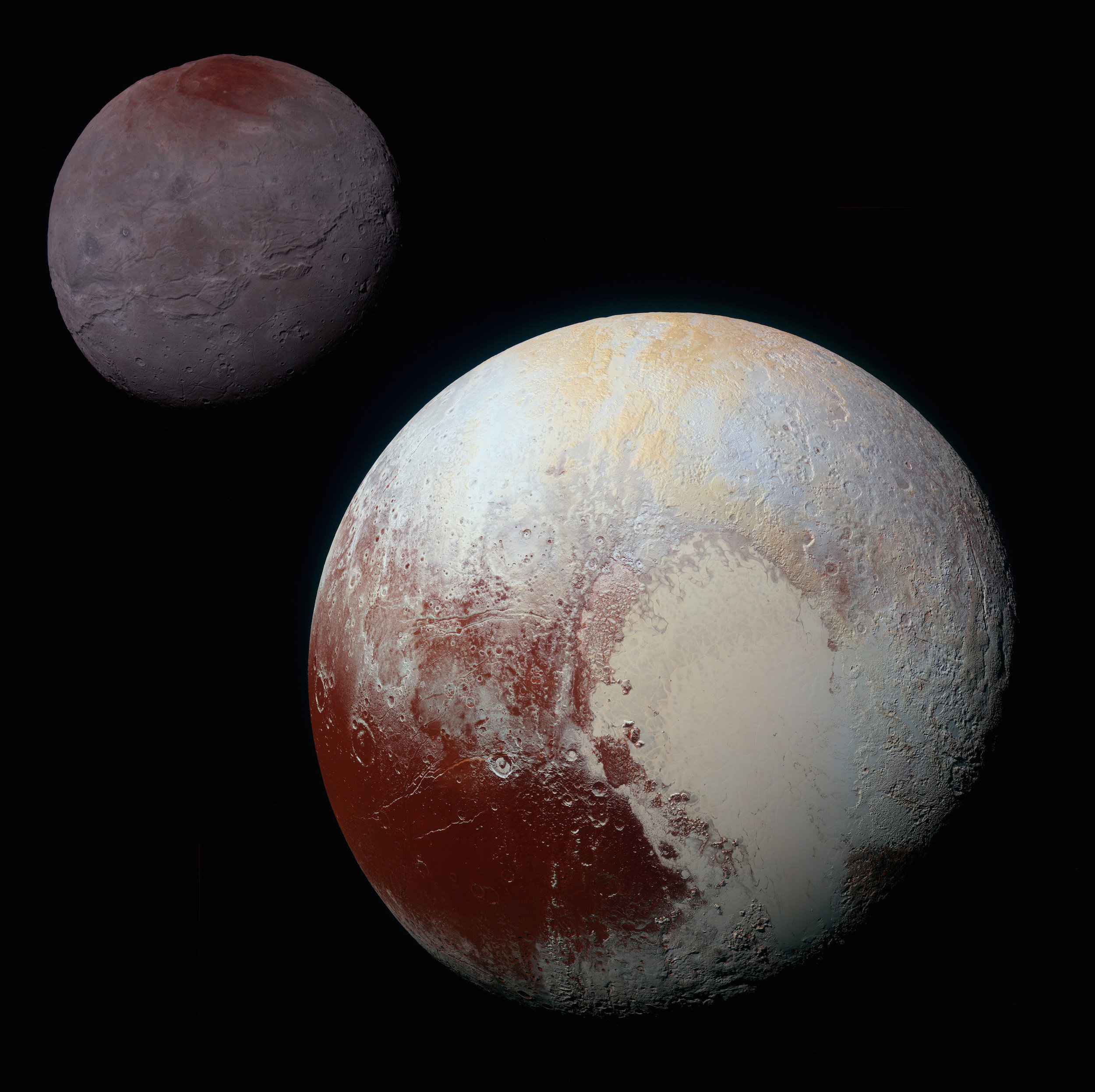 This composite of enhanced color images of Pluto (lower right) and Charon (upper left), taken by NASA's New Horizons spacecraft on July 14, 2015, highlights the wide range of surface features on the small worlds. Working with the New Horizons mission team, the International Astronomical Union (IAU) has approved the themes to be used for naming the surface features on Pluto and its moons. (Credit: NASA/JHUAPL/SwRI)