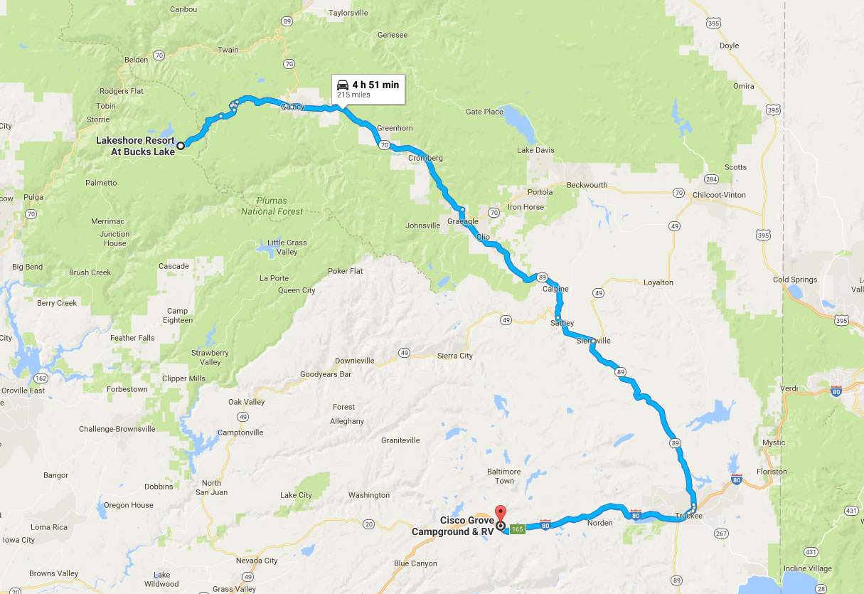 As of this post, The Bucks Lake Route is an out and back due to road closures on the Oroville-Quincy Hwy.