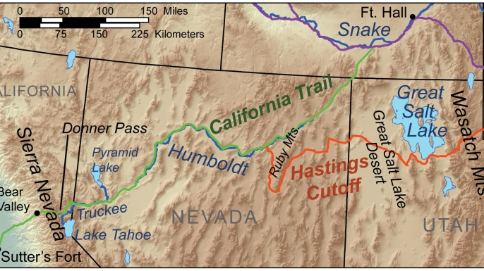 Map showing route of the Donner Party. (Credit: Kmusser/Wikimedia Commons)