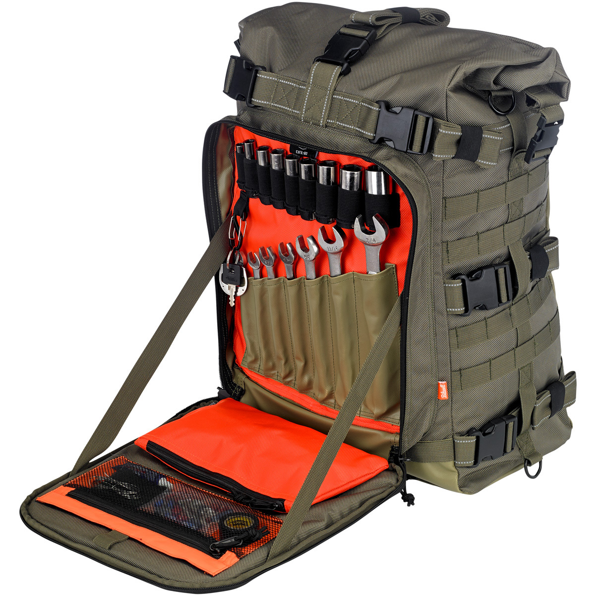This moto ruck is built for the adventurer in mind. The 3 strap mounting system offers a lot of various methods to lash this beast to a plethora of sissy bars and luggage rack. D-rings towards the base offer even more options for securing this hearty load. A handy tool compartment that is not obstructed by the strapping system doubles as a back rest with a built in pad on the exterior panel of the compartment. To top it off, a waterproof liner is included in a semi-hidden lower compartment for when things get wet. MSRP: $199.95