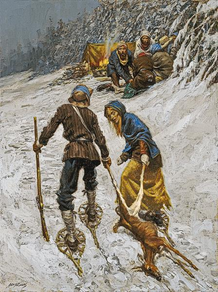 Eddy shown here in a painting was depicted as a hero by often bringing back meat and other sources of food for the camp in efforts to save everyone, not just his own family.