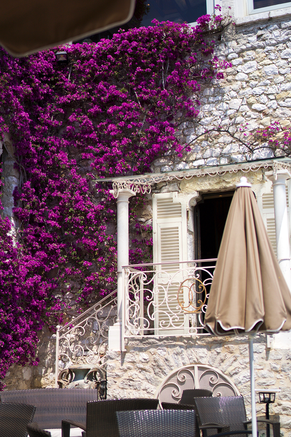 The entrance to the restaurant seen from where we were sitting sipping rose. Everything is perfection here!