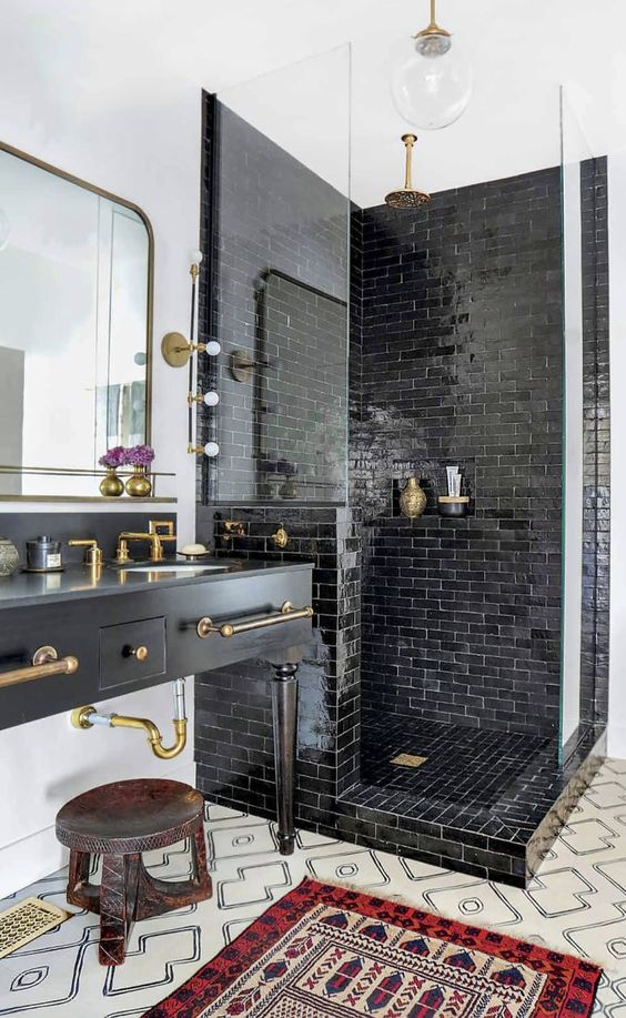 As you can see, the glossy ceramic subway tile mixed with a patterned cement tile floor is a showstopper! I think this might be the magical combo. I always go back to this amazing bathroom. Ceramic glazed tiles are definitely in my future!