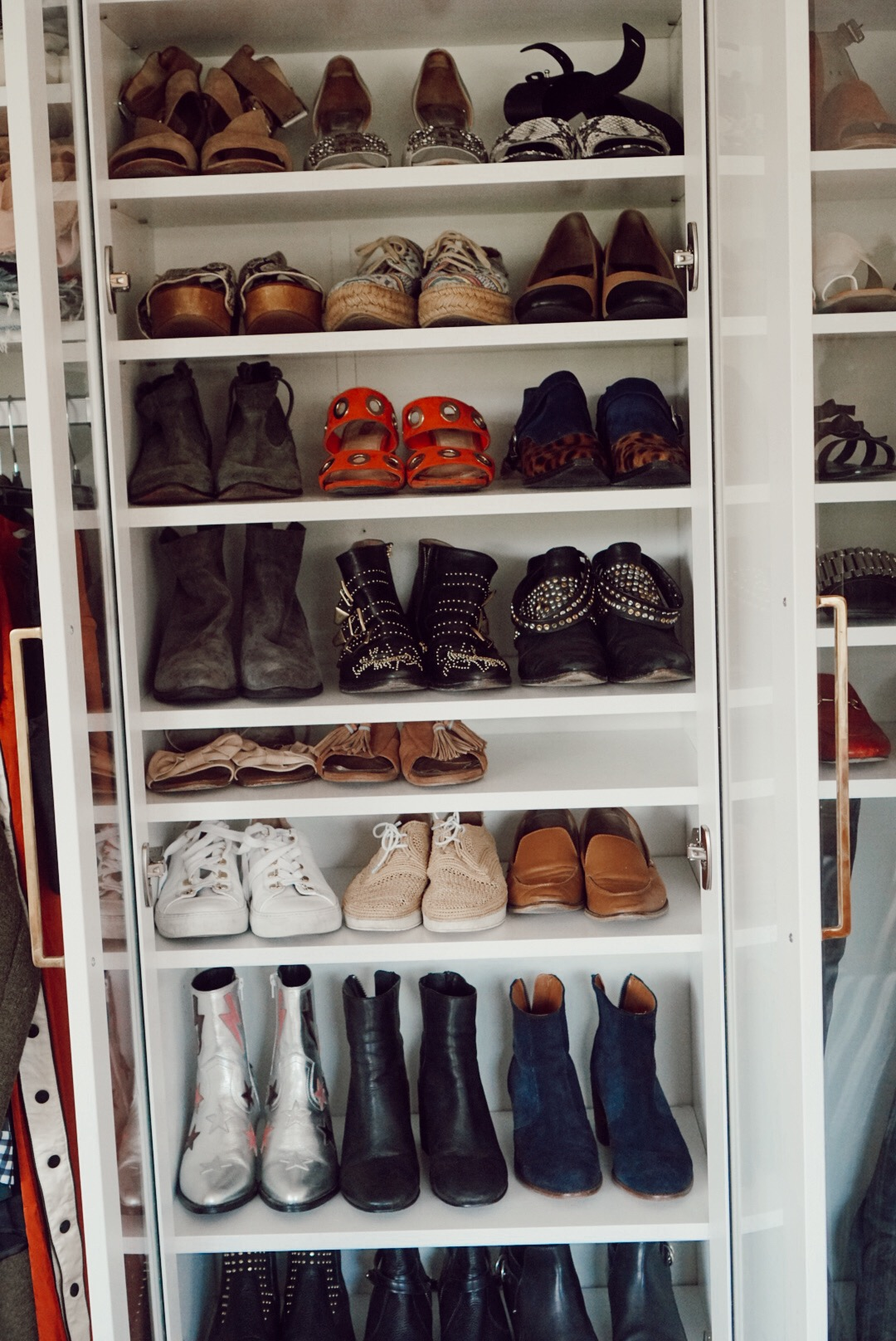 A shoe cabinet keeps the dust away!