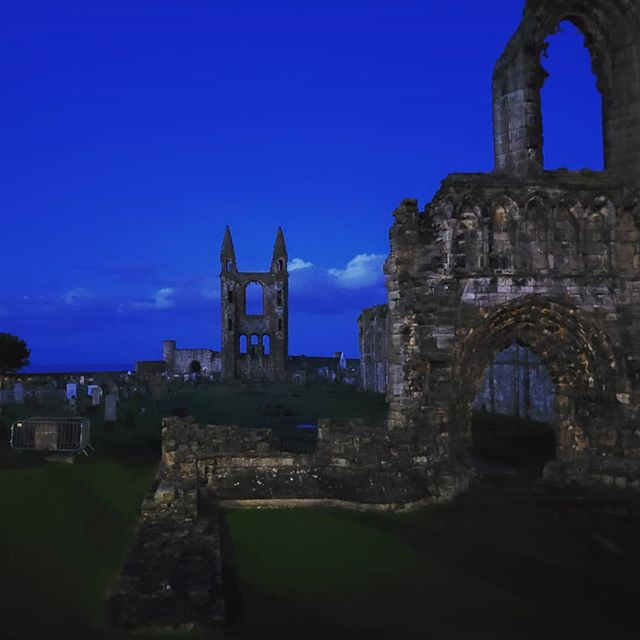 The #ruins of #standrewscathedral at dusk. Founded in the 1100s, it was the central point of Catholicism in medieval #scotland until mass was outlawed in the 1500s during the reformation and then pilfered for local building material. At 390 feet long when complete, it remains the largest church ever built in Scotland.  #scotlandadventures #scotlandlover #scotlandmagazine #scotlandtravel #insta_scotland