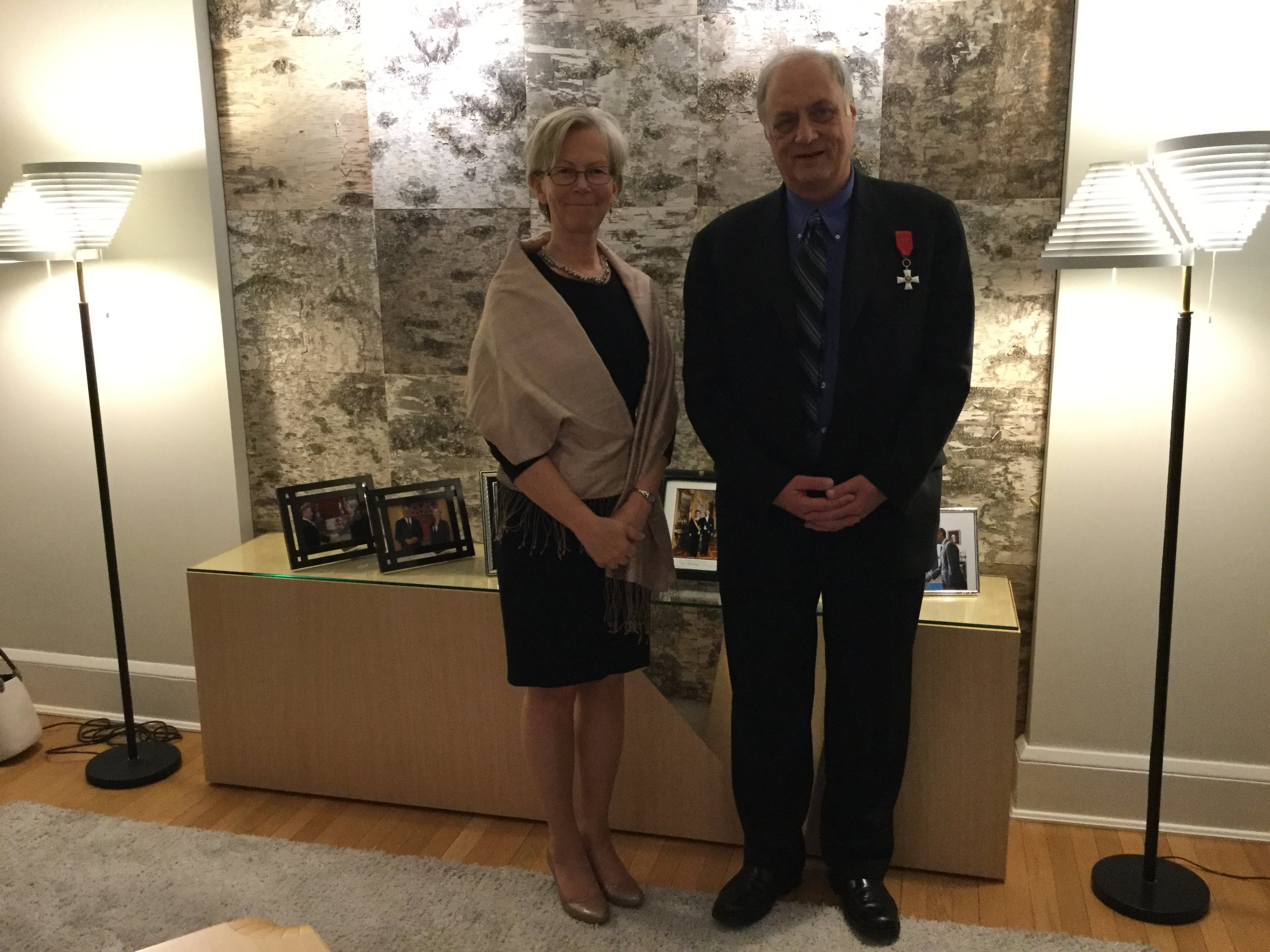 """Craig Randal Johnson, decorated as """"Knight of the Order of the Lion of Finland""""/ with Finnish Ambassador to the USA Kirsti Kauppi/ Washington D.C. 2017"""