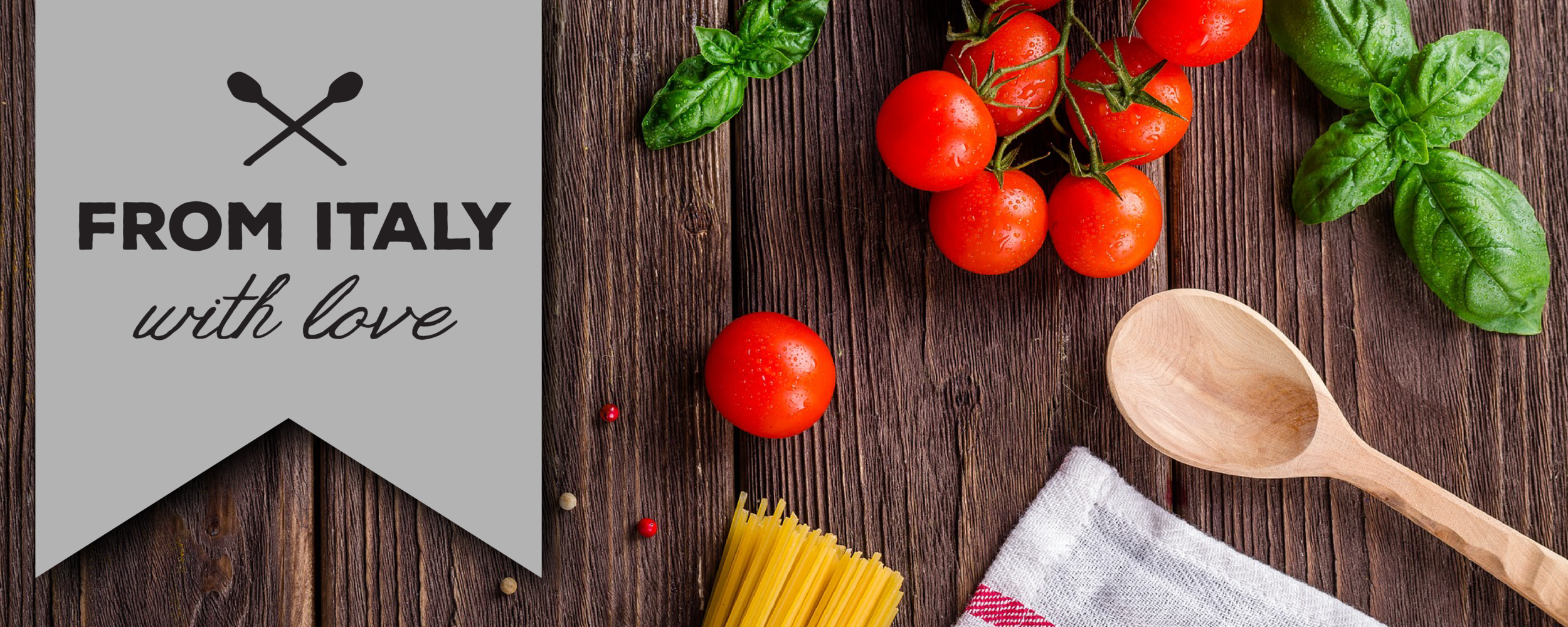 This banner has almost equal parts emphasis on the background image and the blog title. It's the perfect pairing for a cooking blog banner.